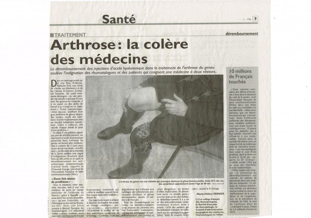 ARTHROSE LA COLERE DES MEDECINS